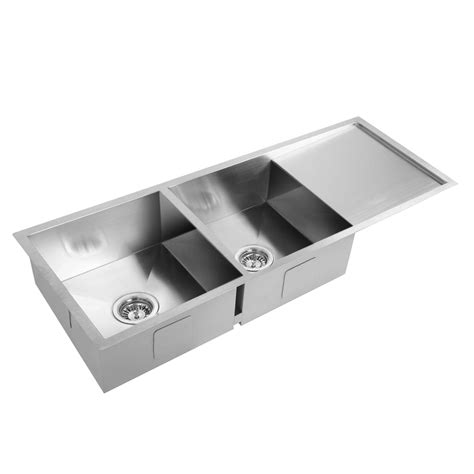 20 kitchen sink stainless steel kitchen laundry sink with draining board 1114 x 450 mm