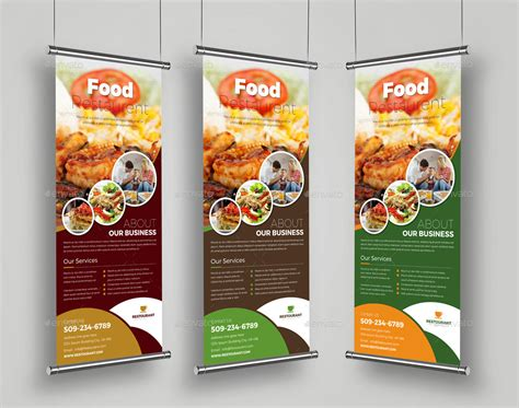 Food Restaurant Roll Up Banner Signage Template By Janysultana Graphicriver Food Banner Design Template Free
