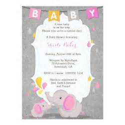 elephant theme baby shower invitations announcements
