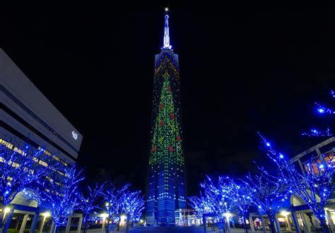 Fukuoka tower illumination fukuoka now