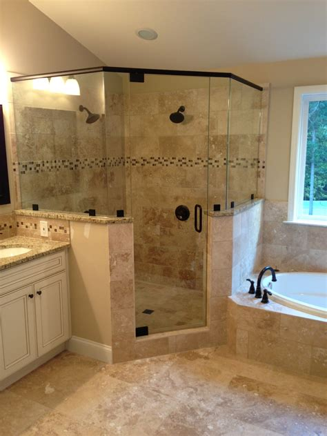 Bathroom Corner Shower Frameless Corner Glass Shower Dual Shower Heads Garden Tub Tiled Shower Bathroom Remodel
