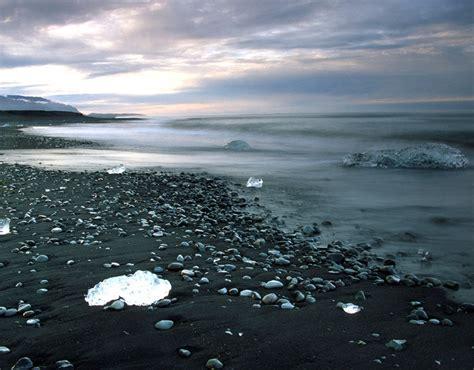 volcanic beach jokulsarlon iceland the black volcanic sand on this