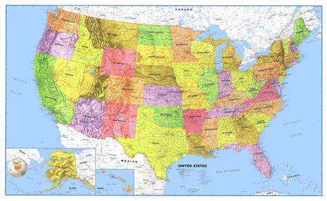 where is usa on the world map world usa classic laminated wall map poster set