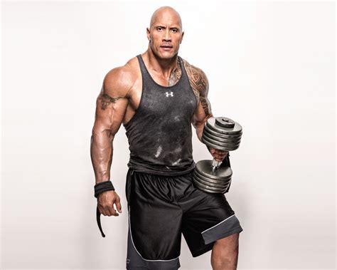 wallpaper dwayne johnson  rock weights workout