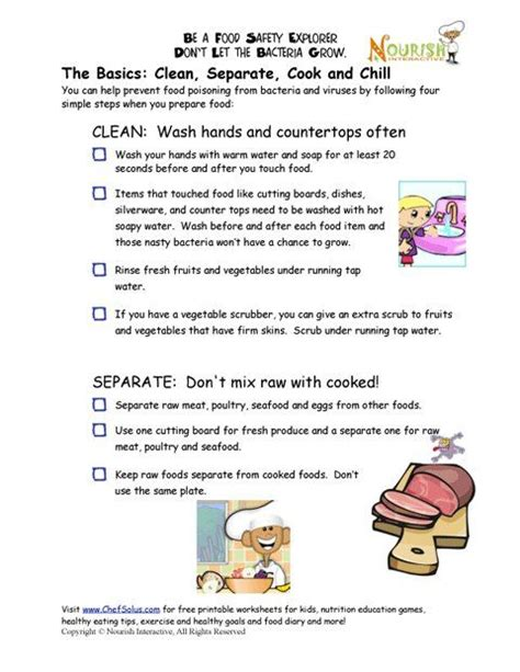 chef solus food safety checklist and other nutition worksheets and cooking printables