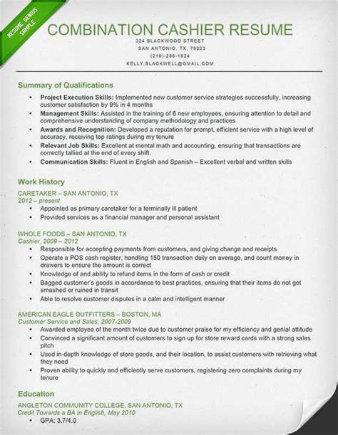 Resume Summary Exle Cashier Cashier Resume Sle Writing Guide Resume Genius