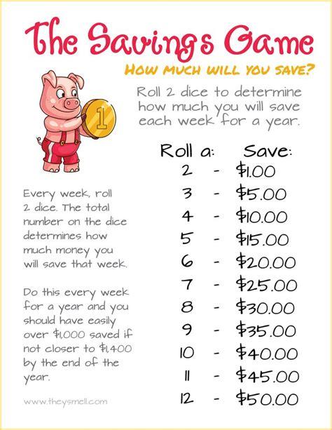 week savings game  fun   save