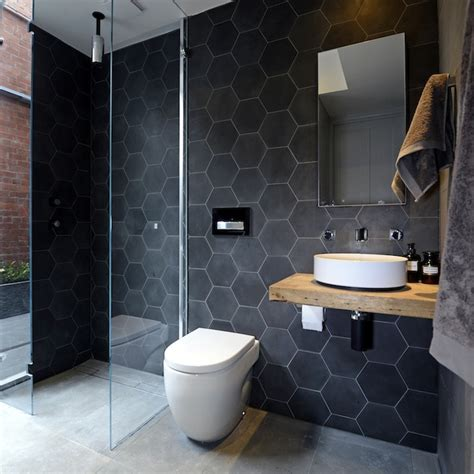 Black Modern Bathroom Black Hex Tiles Modern Bathroom The Block Glasshouse