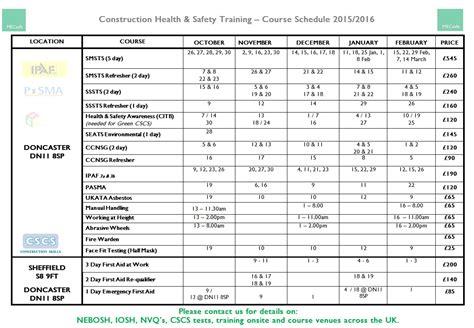 mecsafe health safety training schedule
