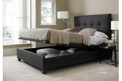 Ottoman Beds With Mattress Walkworth Brown Madras Leather Ottoman Storage Bed By Kaydian Design Ebay