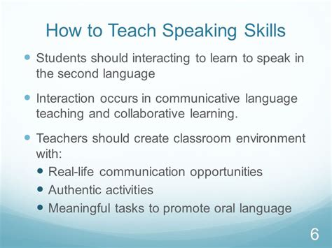 how to teach to speak teaching and assessing speaking skills in a second language setting ppt
