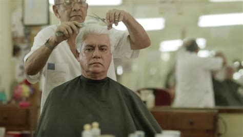 Getting A Old Mans Combover In Barber Shop | man getting a haircut by senior barber in old fashioned