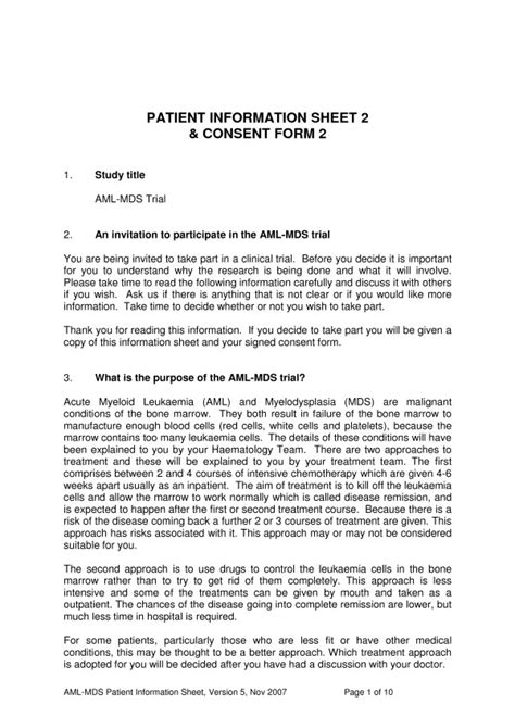 participant information sheet template exle page of the original aml16 participant information