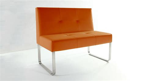 orange leather bench modern orange dining bench with backrest comfortable