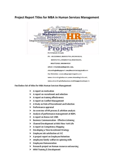 Mba Finance Project Report Titles by Project Report Titles For Mba In Human Services Management