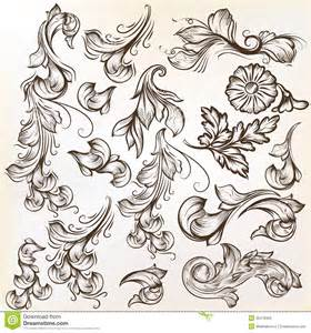 set of vintage vector swirls for design stock photography