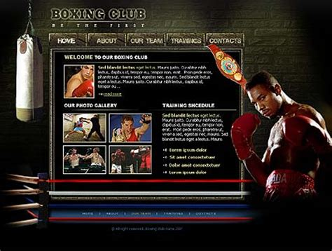 Boxing Club Flash Template Best Website Templates Boxing Templates Free