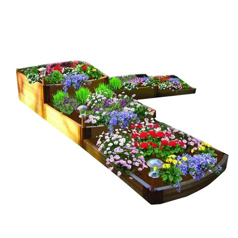 Frame It All Raised Garden Bed Frame It All Two Inch Series 12 Ft X 12 Ft X 22 In Composite Split Waterfall Raised Garden
