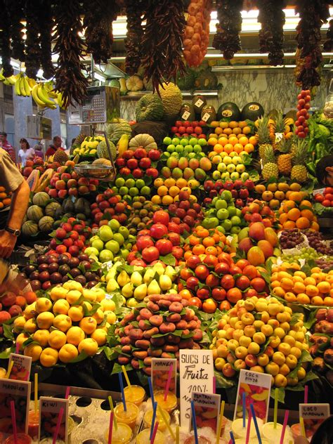 fruit market fruit market just of la rambla barcelona spain