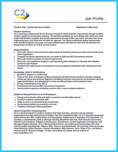 Analyst Resume by Best Secrets About Creating Effective Business Systems