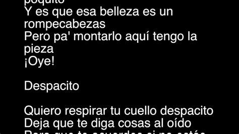 despacito youtube lyrics despacito remix feat justin bieber lyric video