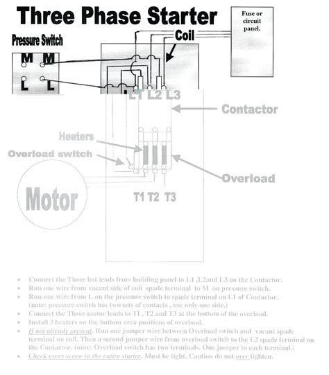 3 phase air compressor motor starter wiring diagram