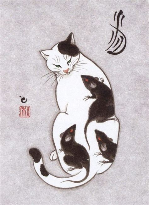 japanese cat tattoo cats tattooing each other in surreal japanese ink wash