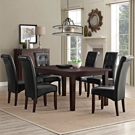 simpli home acadian 7 light mocha dining set simpli home cosmopolitan 7 midnight black dining set axcds7 cos bl the home depot
