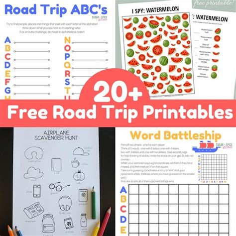 free printable road trip games for adults 20 free road trip game printables sugar spice and glitter