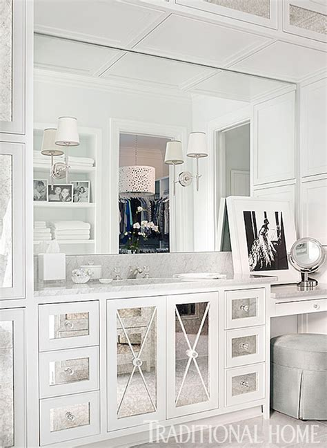 Bathroom Cabinets Mirrored Doors Mirrored X Mullion Transitional Bathroom Traditional Home