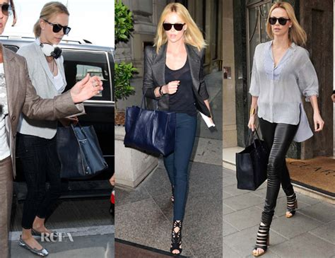 Charlize Theron With And Balenciaga Purses by Charlize Theron Balenciaga Papier Bag