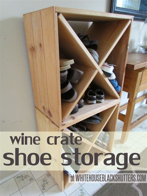 wine crate shoe storage wine crates turned shoe storage decor hacks