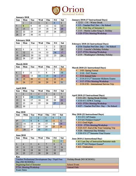 Academic Calendar 2018 International Academy 187 2017 2018 Academic Calendar