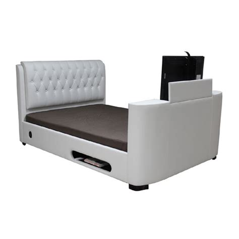 tv bed frame sale pulse high gloss eu bed in white with led lighting 19