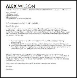 cover letter for food service food service worker cover letter sle livecareer