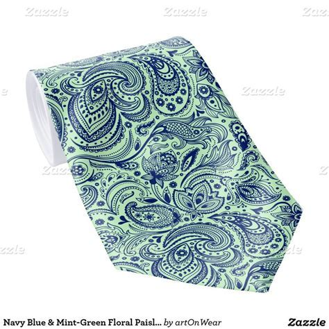 Navy Blue & Mint Green Floral Paisley Pattern Tie