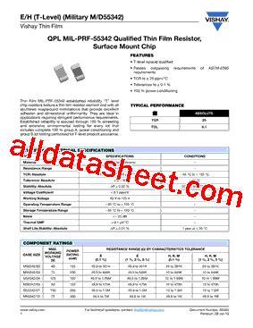 vishay m55342 resistors m55342 10 datasheet pdf vishay siliconix