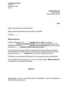 Exemple De Lettre Demande De Mise En Disponibilité Adresse Service Client Canal Sat