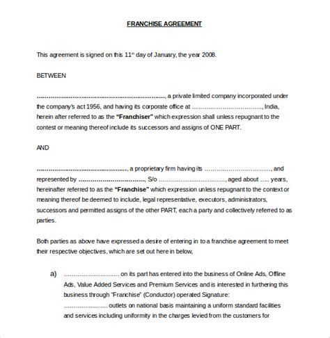 20 franchise agreement templates free sle exle
