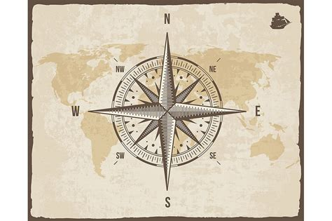 old boat compass vintage nautical compass illustrations creative market