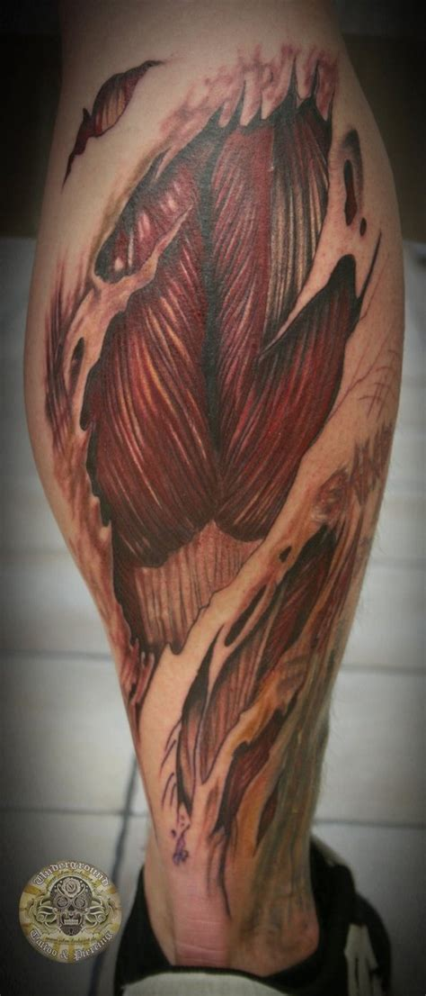 muscle tattoo awesome calf tat it up