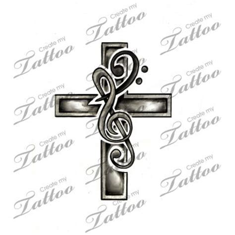 music cross tattoos marketplace cross treble bass clef 6408