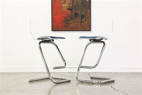 Vintage Chrome Bar Stools by Vintage Lucite Chrome Bar Stools Vintage Supply Store