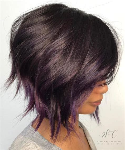 short bob styles with a subtle stacking 20 purple balayage ideas from subtle to vibrant purple