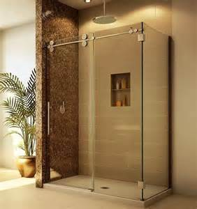 give me this tile shower with sliding glass door great