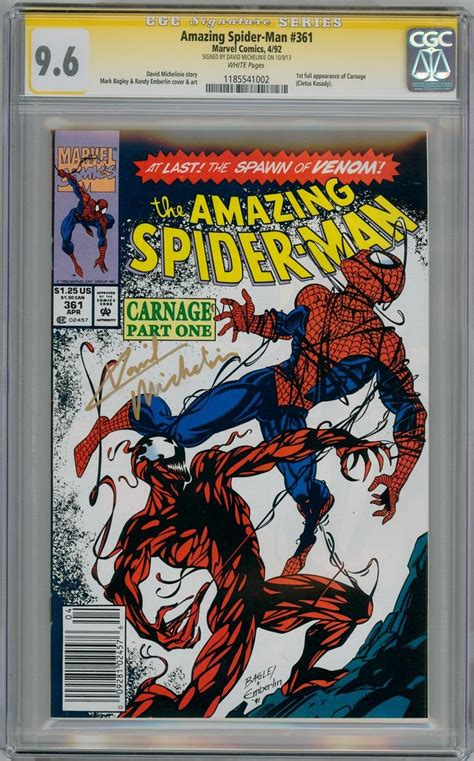 spider man by david michelinie 1302907026 amazing spider man 361 cgc 9 6 signature series signed david michelinie first carnage appearance