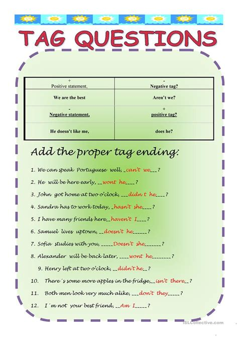 printable question tags exercise tag questions worksheet free esl printable worksheets