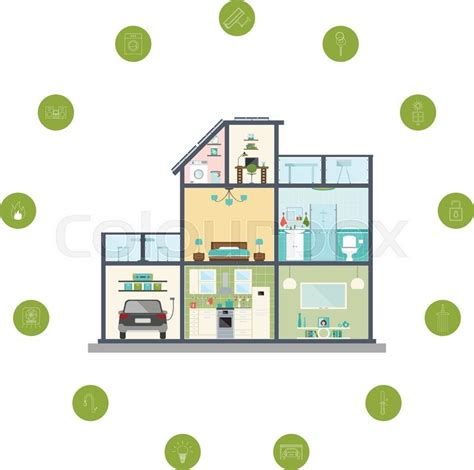 smart home technology system vector illustration of smart home infographic concept of