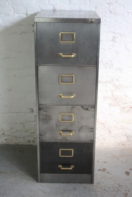 Vintage Polished Steel 4 Drawer Filing Cabinet With Brass Handles And Label Inserts Lovely And File Cabinet Drawer Label Inserts Template