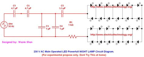 led capacitor ac 230 v 50hz ac or 110v 60hz operated led powerful l circuit diagram electrical